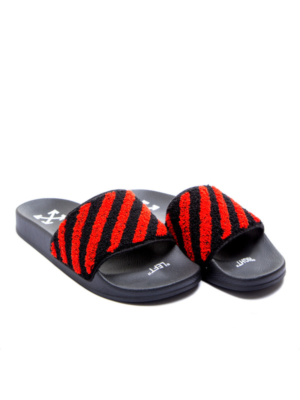 Off White flyknit stripe slide multi