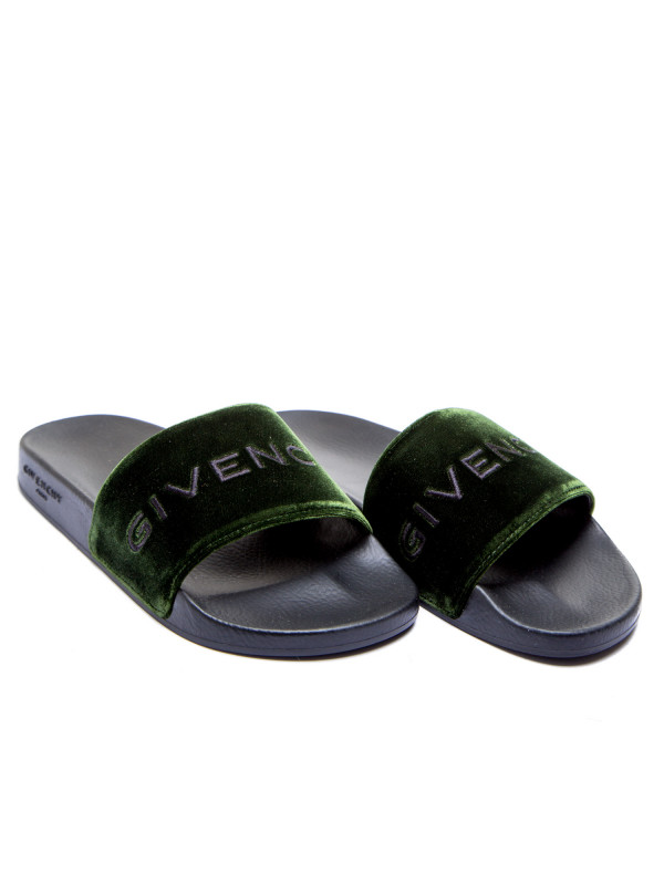 Givenchy slide flat sandal groen