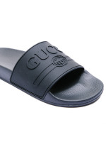 Gucci logo rubber slide sandal zwart
