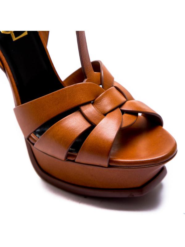 Saint Laurent high heel leather sandal oranje