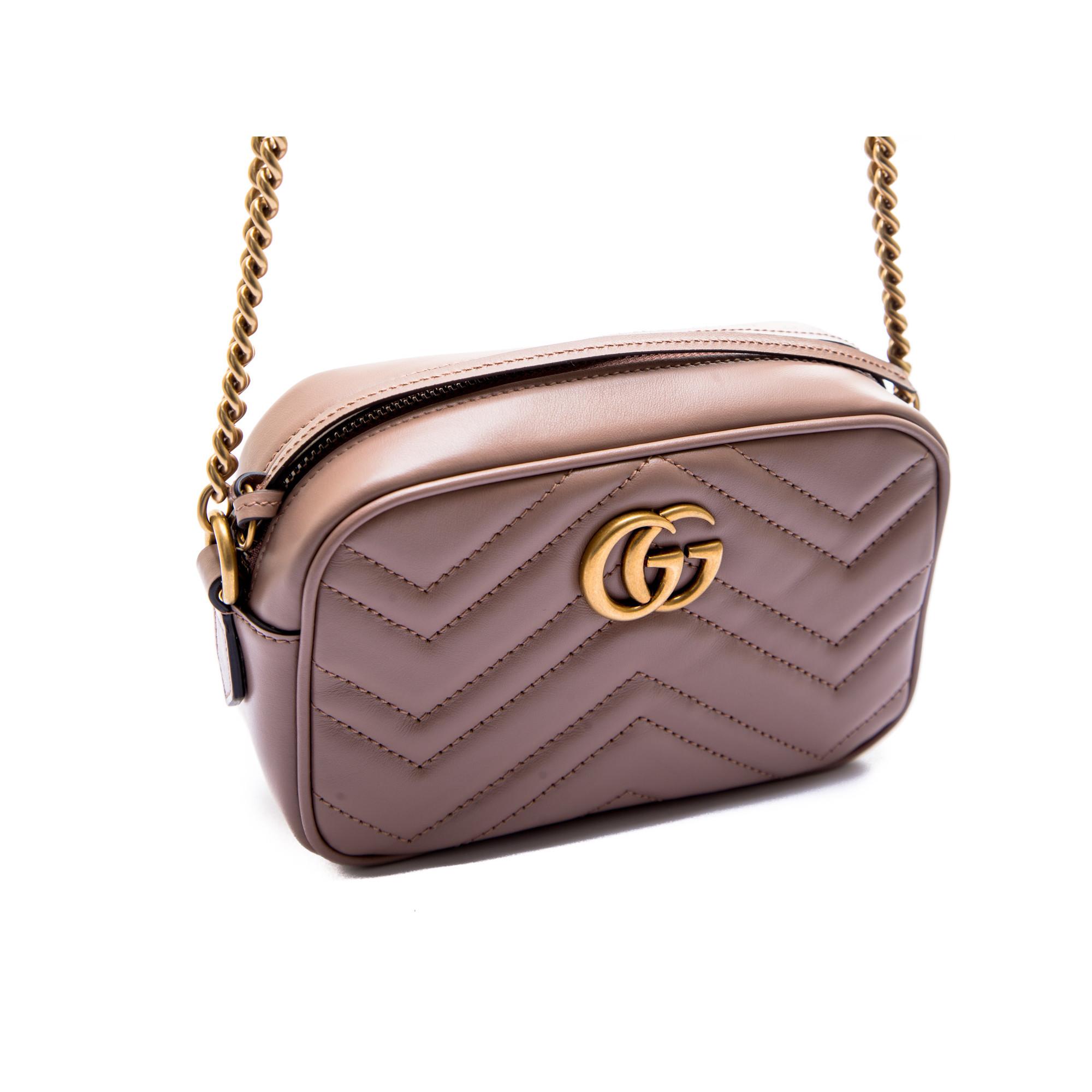 Gucci Diagonal GG Marmont Mini Shoulder Bag 474575 Nude