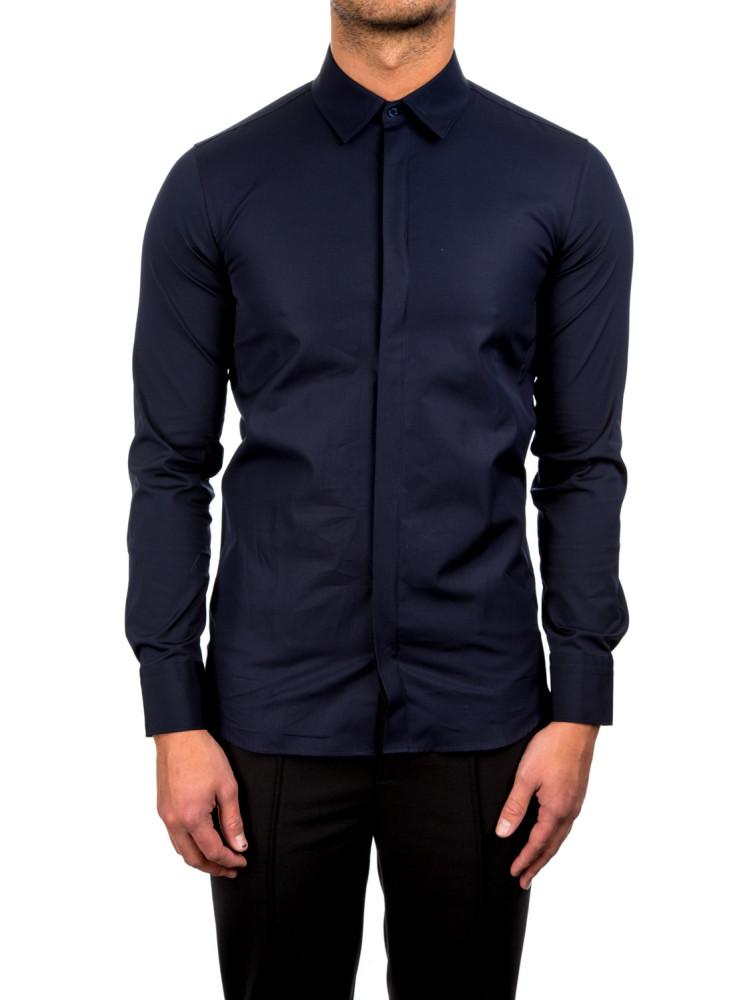 neil barrett tuxedo shirt blue credomen