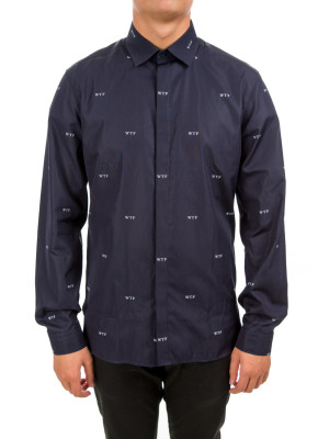 neil barrett woven shirt blue 421-00256