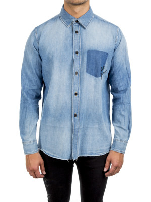 Saint Laurent Paris oversize shirt shadoer blue 421-00359