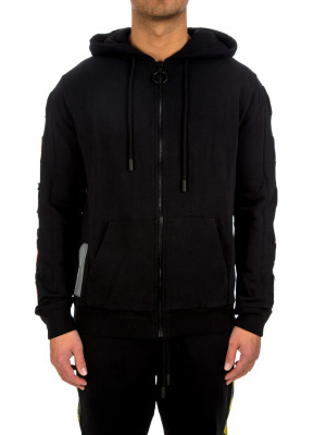 Off White patch zipped hoodie black 428-00232
