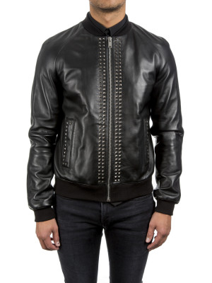 les hommes  bomber with studs black 442-00092